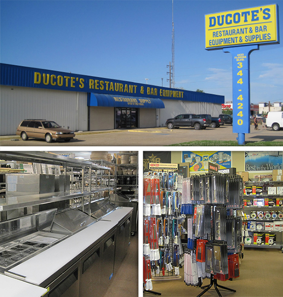 Ducote's Restaurant & Bar Equipment displaying their exterior,a showroom filled with prep tables and kitchen utensils